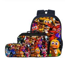 Moda Cartoon 3 sztuk zestaw pięć nocy w Freddy dzieci torby szkolne dla dzieci chłopców tornister FNAF dzieci plecaki dla studentów dziewcząt torba tanie tanio KKABBYII Poliester zipper KK471 Unisex 30cm 0 5kg 16cm Polyester 40cm
