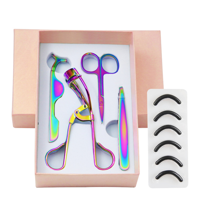 eyes dangcing makeup accessories eyelash eyebrow scissor tools eyelashes curler lash case beauty colorful make up tool