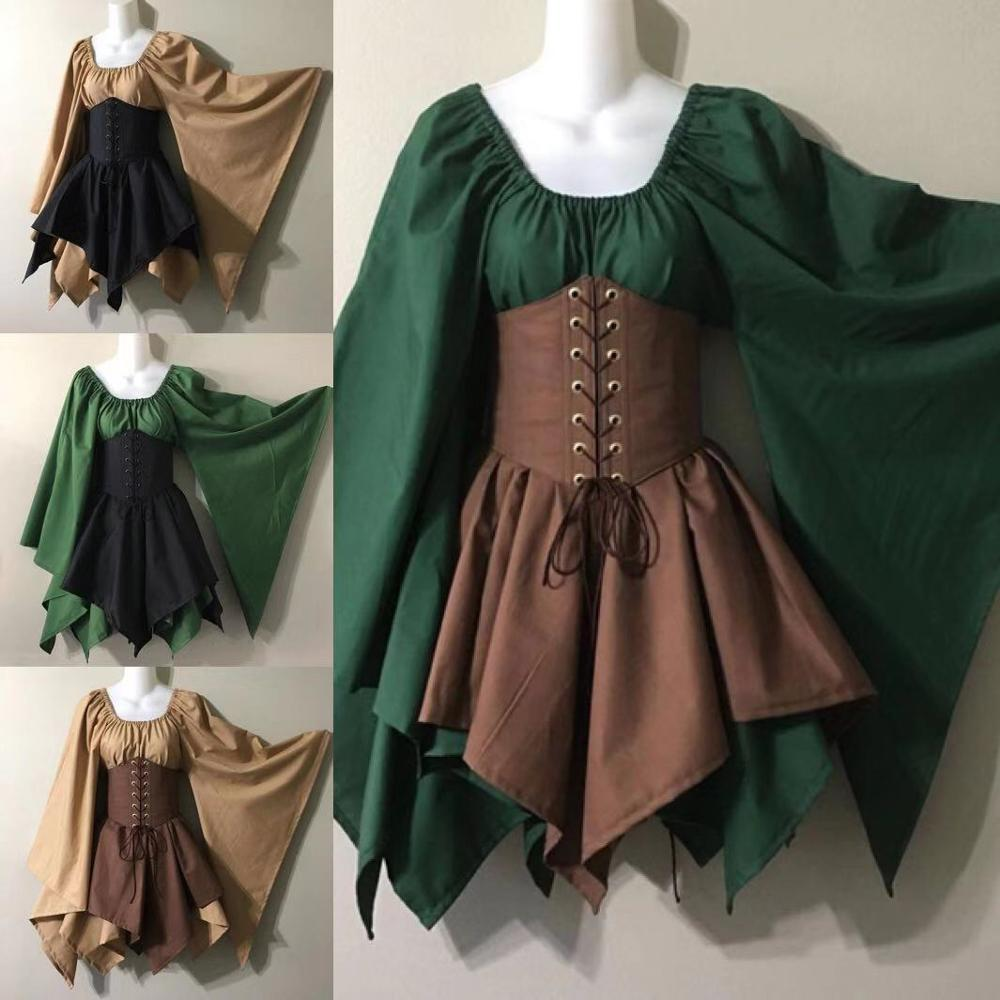 Medieval Costume Woodland Wood Elf Fairy Fantasy Waist Cincher Corset Set Top And Jagged Skirts