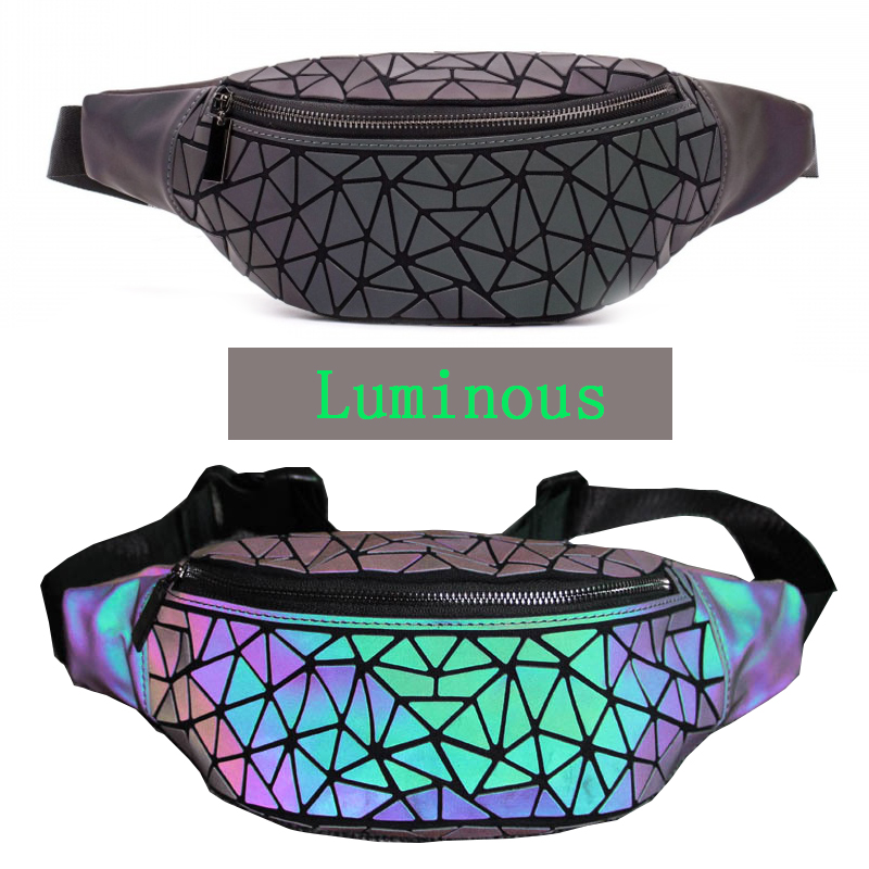 2019 Fashion Luminous Fanny Pack Women Holographic Waist Bag Geometry Chest Bao Belly Bags Money Phone Hip Bags Bolsa Cintura
