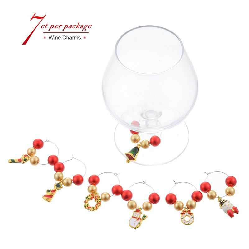 6pcs Box Table Wine Glass Marks Decoration Christmas Gift Ornaments Wine Decor Xmas Decorations New Year Party Dinner Decor