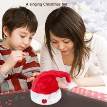 Электрическая Рождественская шляпа, игрушка из пластика высшего класса, золотой бархат, ПП хлопок, наполнение, пение, движущийся Рождественский домашний декор для детей