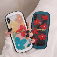 VZD Cute Flower Patterned Arc Shaped Transparent Tempered Glass Phone Cases for iPhone XS XR Max X 8 7 6 6S Back Cover