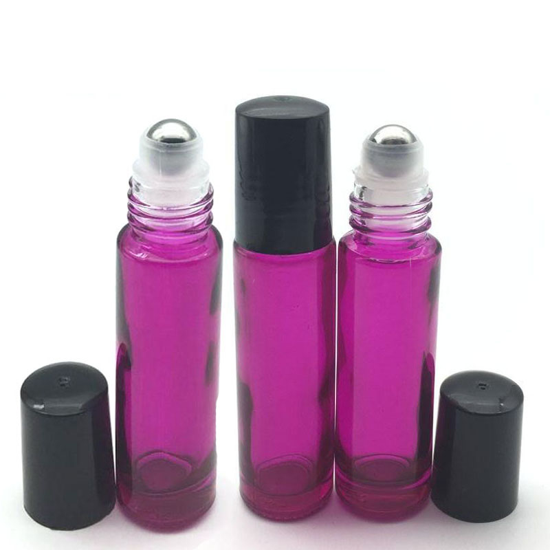 6pcs Empty Rose-red Essential Oil 10ml Roller Glass Bottle Roll On Thick Bottle Fragrance Perfume Free Shipping