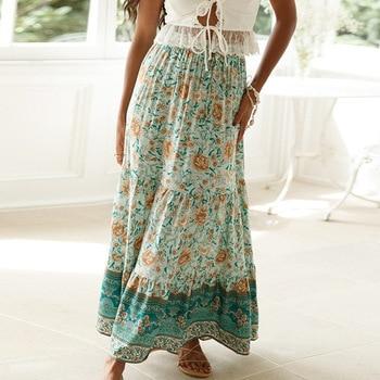 Bohemian New Print Woman Skirts Casual Printed Holiday Long Skirt 1
