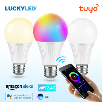 цена на LUCKYLED Smart Led Bulb 7W 9W Led Bulb E27 5W 10W 15W Wifi Smart Light Bulb Alexa Google Home RGB Lamp with IR Remote Control