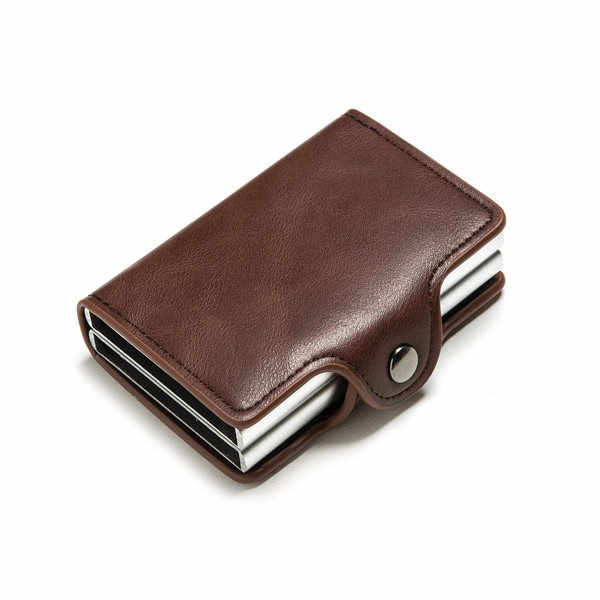 Bisi Goro Mini Purse Man Aluminium Rfid Card Portemonnee Dubbele Dozen Kaarthouder Blokkeren Anti-Diefstal Smart Card Case pu Leer