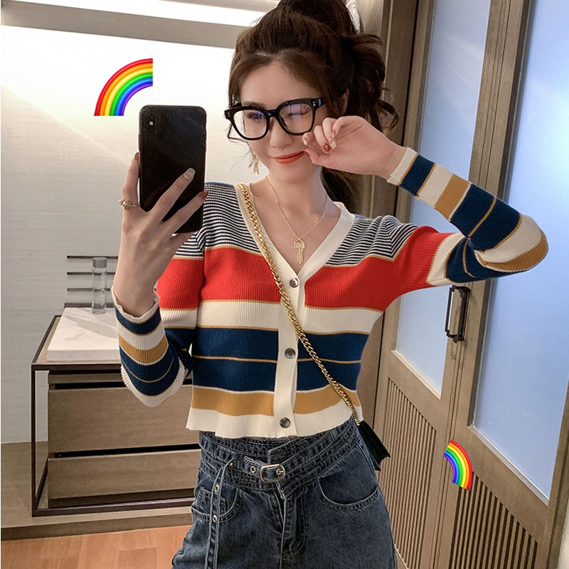 Women Single Breasted Sweaters Casual Striped V-Neck Cardigans Long Sleeve Loose Sweater