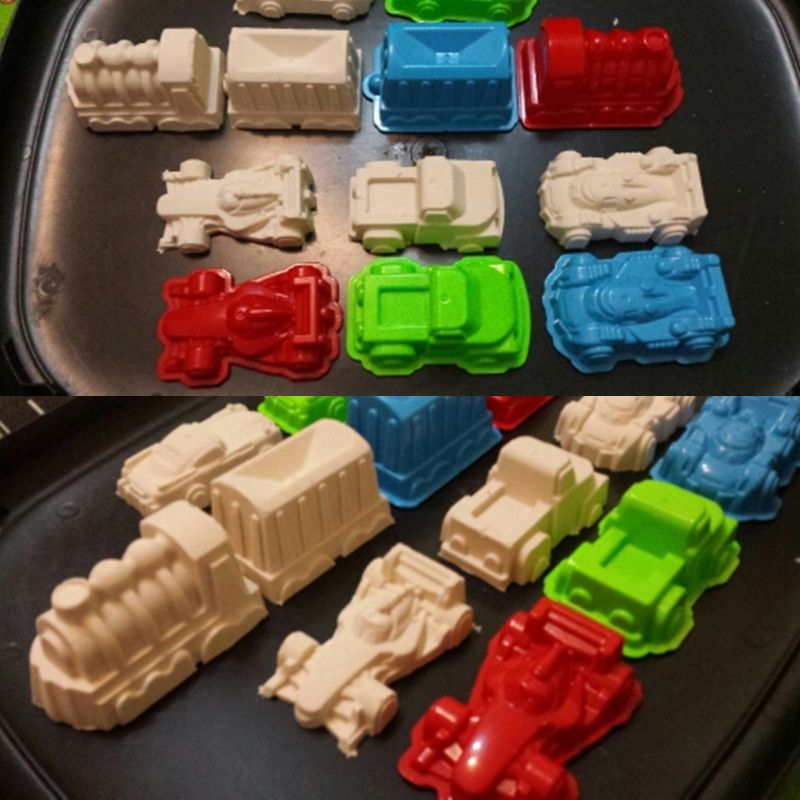6 Pcs Car Suit Power Playing Sand Molds Space Playing Sand Car Molds Puzzle Beach Toy Kit GXMB