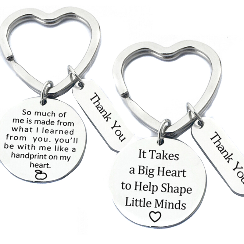 Love Heart  Book Charms Keychain Teacher Keyring For Teachers Key Chains Rings Holder Jewelry Teacher's Day Gifts