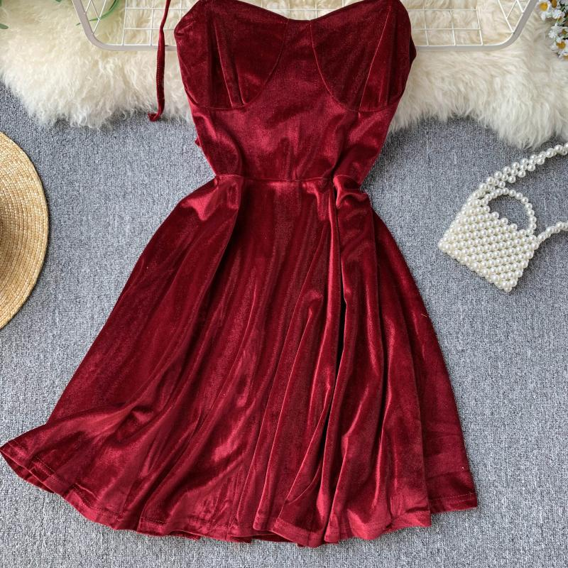 Vintage Spaghetti Strap Backless Bodycon Mini Velvet Dress 10