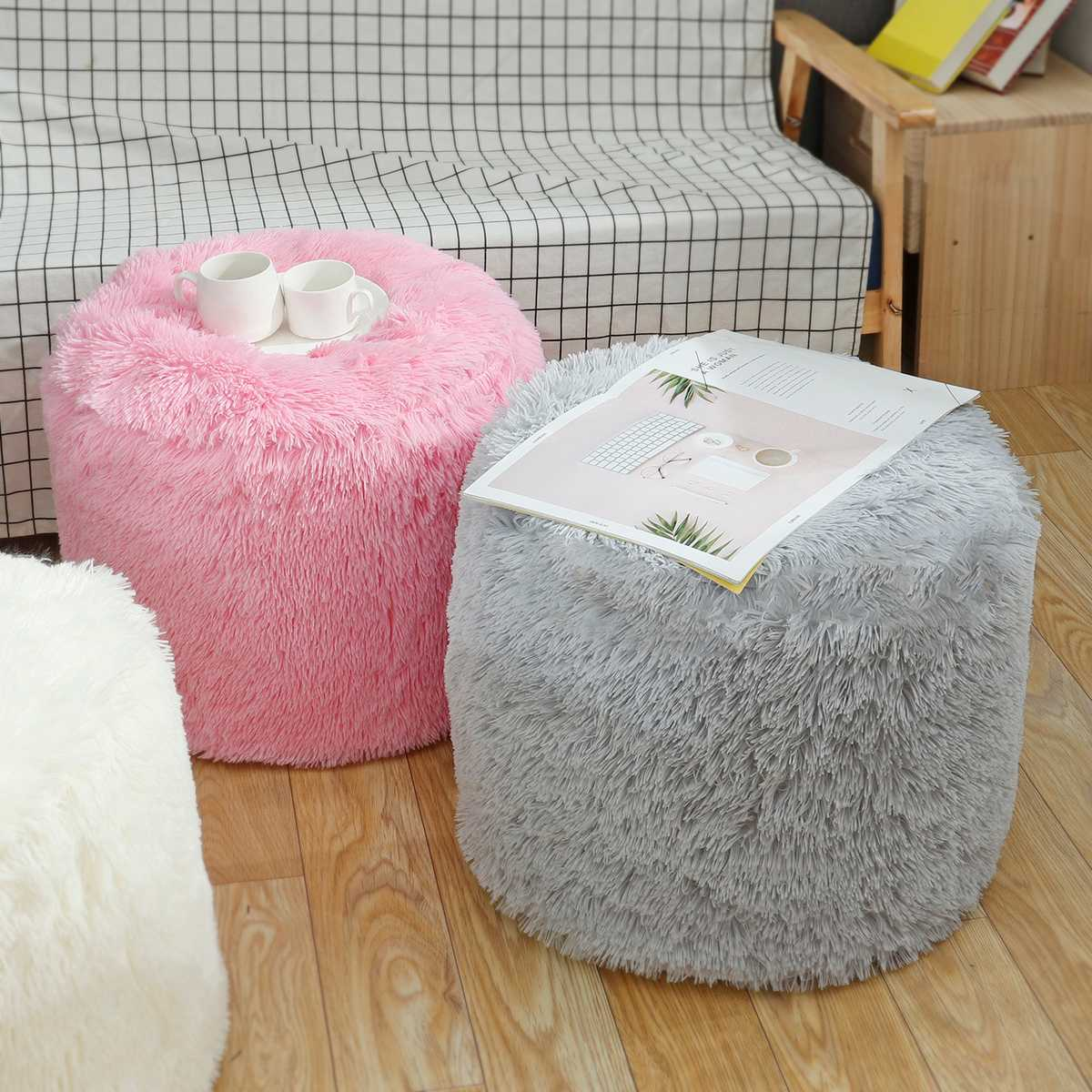 Home School Children Stool Baby Seats Soft Cloth Cover Air Inflatable Baby Seats Bed Sofa Chair With Inner Bladder Round Stool