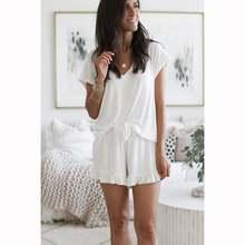 Пижама женская с разрезом Семейный комплект свободная v образным