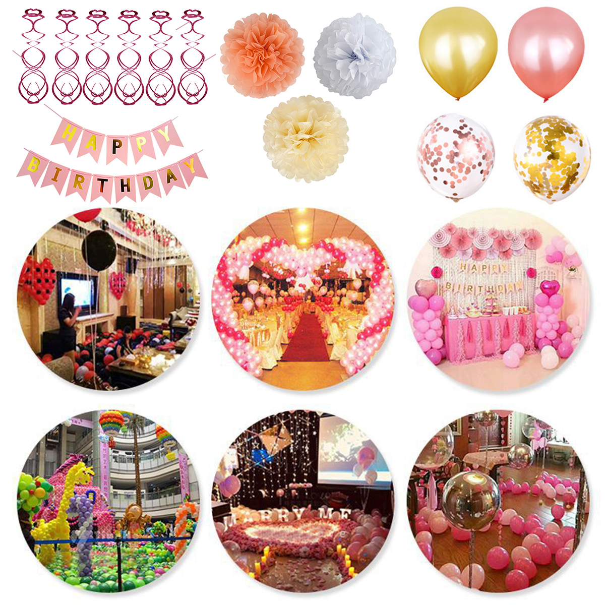 Birthday Party Supplies Decoration Kit 12inch Balloons Happy Birthday Banner Hanging Swirls Latex Balloons Sequins Balloons