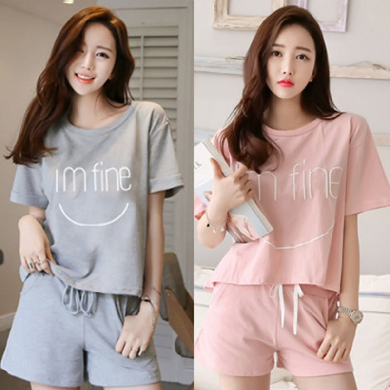 Short Sleeved Shorts Suit Pajamas Women's Summer Korean-style GIRL'S Cute Casual Large Size Sports Homewear Set Batch