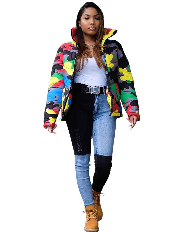 Камуфляжная зимняя куртка, женская модная водолазка, женский пуховик для женщин, свитер, Мужская парка, тонкая пара, пальто размера плюс 4XL