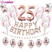 38 pçs número 25 balões feliz aniversário decorações de festa 25 anos de idade 25th aniversário suprimentos ballon rosa ouro rosa preto prata