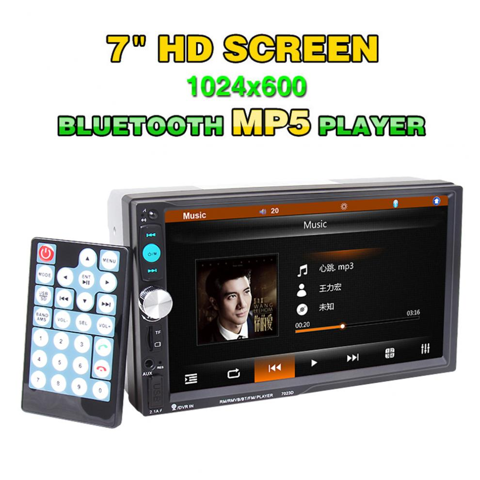 <font><b>7023D</b></font> 7 Inch 2 DIN HD Bluetooth Auto Car Stereo Audio MP5 Player FM Radio Support Card Reader Fast Charge USB SD MMC AUX DVR image