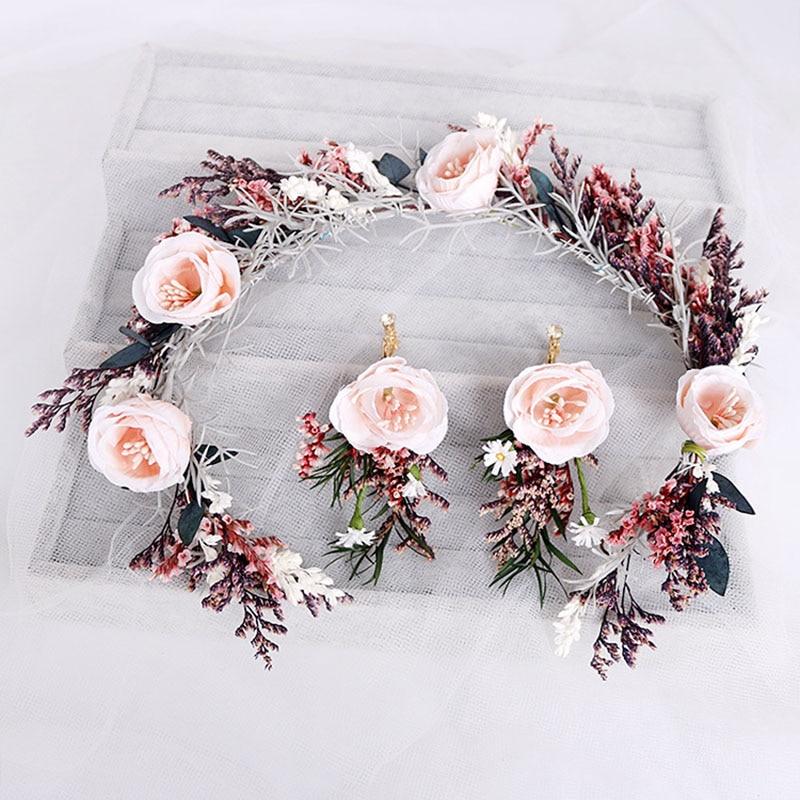 Eightree Bohemia Flower Hairband Set For Women Crown Headband Party Beach Wedding Bride Headwear Ornament Hair Accessories