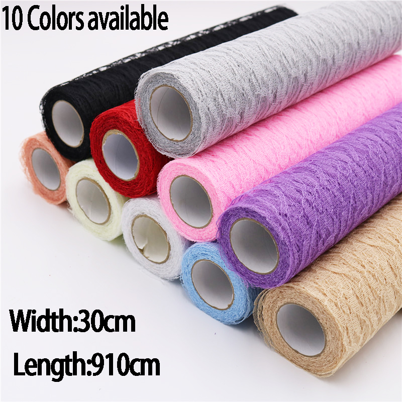 Lace Roll Organza Spool Fabric Ribbon 30*910cm Netting Fabric DIY Wedding Event Party Chair Sash Bow Table Runner Decoration