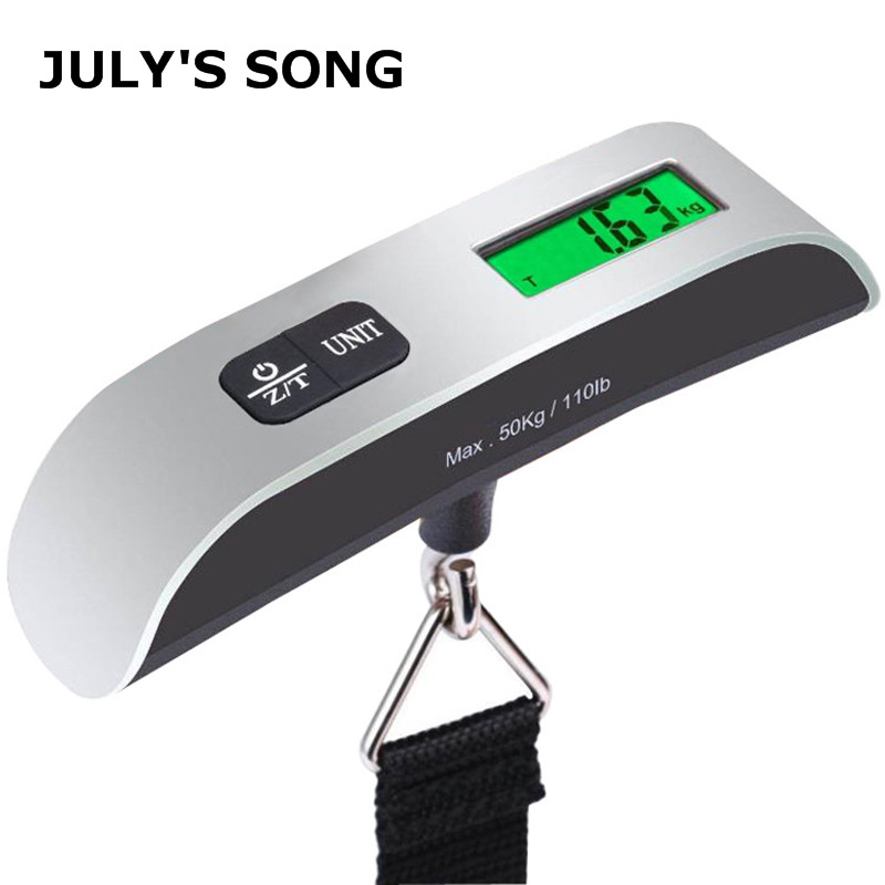 JULY'S SONG 110lb/50kg Portable Luggage Scale Digital Electronic Suitcase Scale Handled Travel Bag Weighting Scale LCD Display