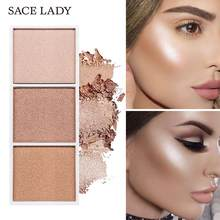 Sace Lady 4 Kleuren Highlighter Palette Make-Up Gezicht Contour Poeder Bronzer Make Up Blusher Professionele Blush Palet Cosmetica(China)