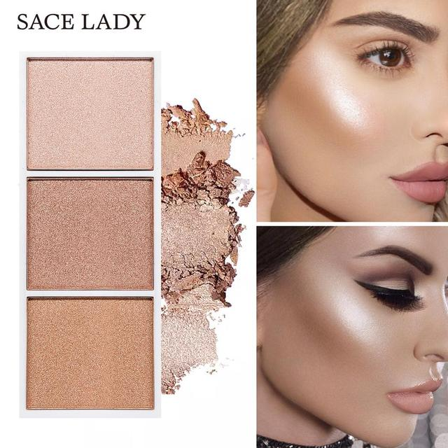 SACE LADY 4 Colors Highlighter Palette Makeup Face Contour Powder Bronzer Make Up Blusher Professional Blush Palette Cosmetics Beauty & Health
