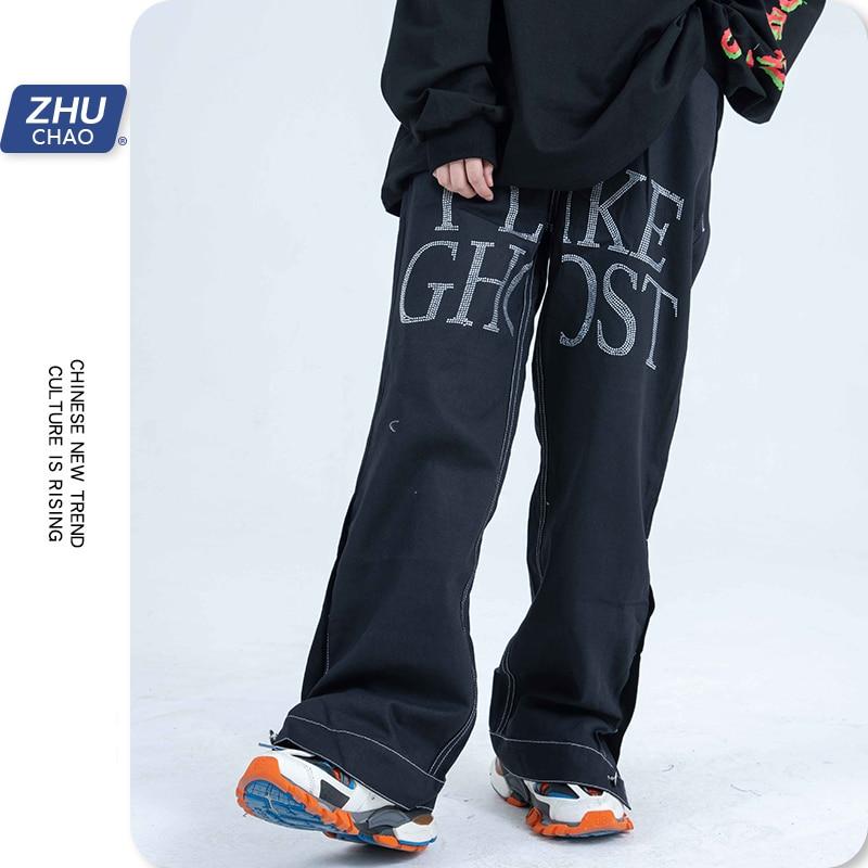Лидер продаж, однотонные джинсы с надписью, прямые уличные брюки с боковыми кнопками, свободные брюки с широкими штанинами, Женская/Мужская ...