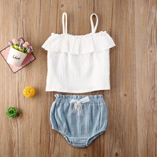 0-24M Toddler Infant Baby Girls 2Pcs Clothing Sets Sleeveless Vest Tops+Shorts Outfits Summer Casual