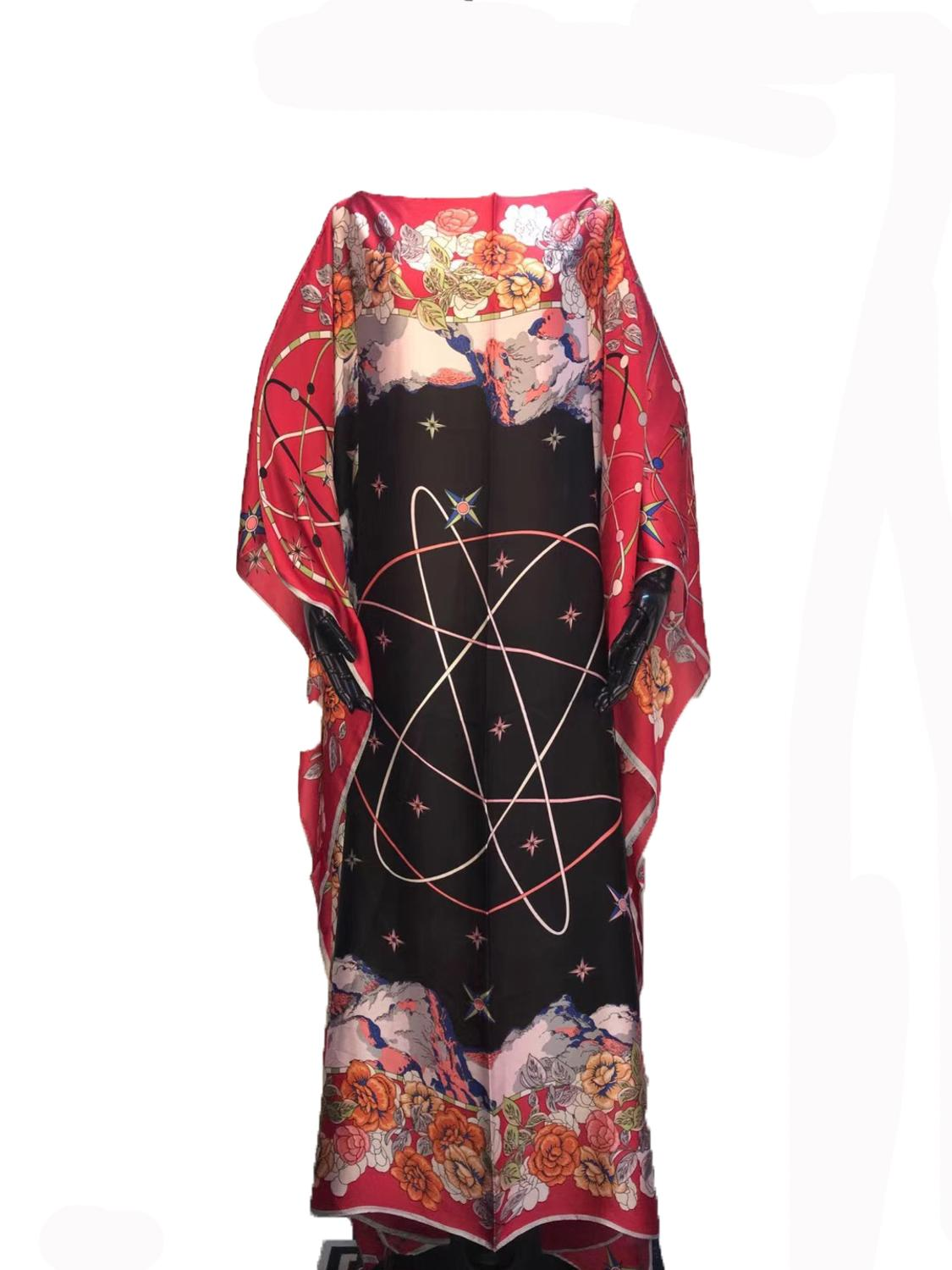 Oversize Modern Fashion Printed Silk Kaftan Dresses Loose Style Dashiki Women's Silk Dresses African Dresses For Women