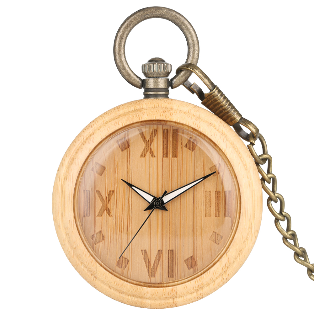 Natural Bamboo Large Pocket Watches Carved Roman Numerals Dial Bronze Rough Chain Pendant Watch For Male Montre De Poche