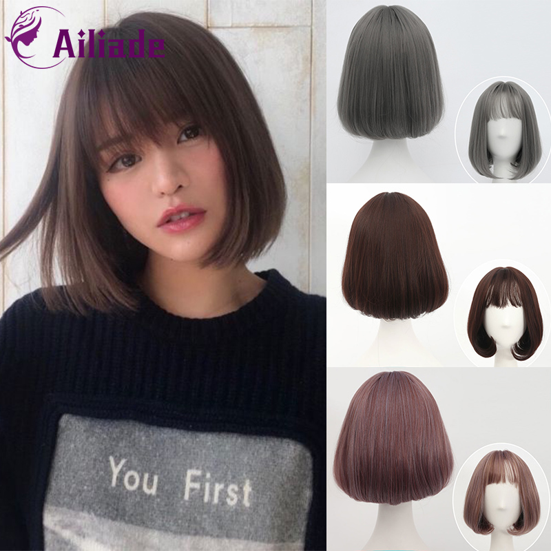 AILIADE Short Synthetic Bob Wigs For Women Natural Pluffy Hair With Korean Air Bangs Daily Wig Brown Rattan Linen Grey Wig