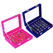 New Mini Rings Ear Stud Jewelry Holder Storage Box Case Container Organizer with Lid Jewelry Holder Display Multiple Gri