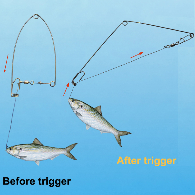 Smart Kingfisher Stainless Steel Hook Trigger Spring Fishing Hook Setter Catch Fish Trap Automatic Sensitivity Adjustable