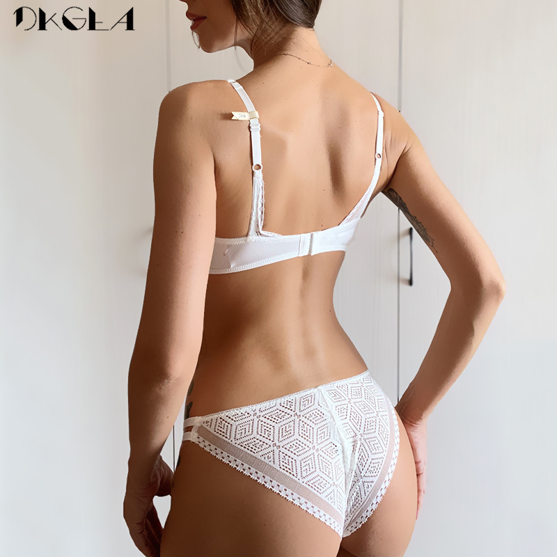 2020 Thin Cotton Bra Panties Sets White Women Lingerie Set Embroidery Hollow Brassiere A B C Cup Sexy Bras Lace Underwear Set 2