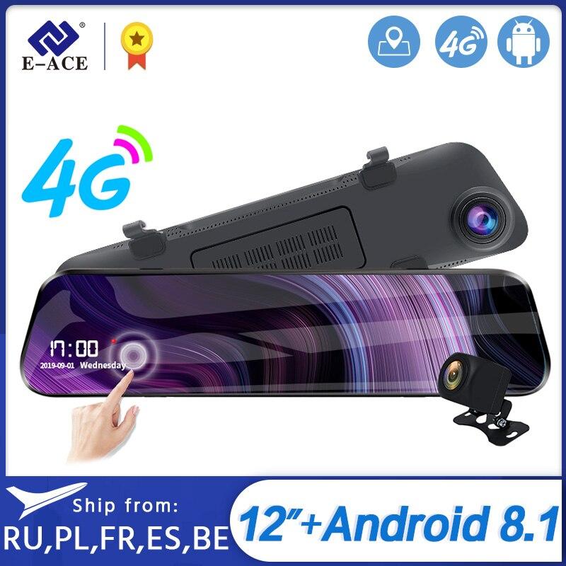 E-ACE 12 Inch Streaming RearView Mirror Car Dvr Camera 4G Android 8.1 Dash Cam GPS Navigation ADAS Wifi Auto Registrar Recorder