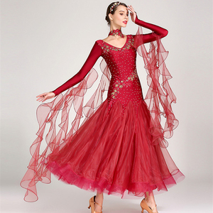 Image 1 - white ballroom dress long sleeves waltz dresses for ballroom dancing foxtrot dance dress standard ball dress sequins dance wear