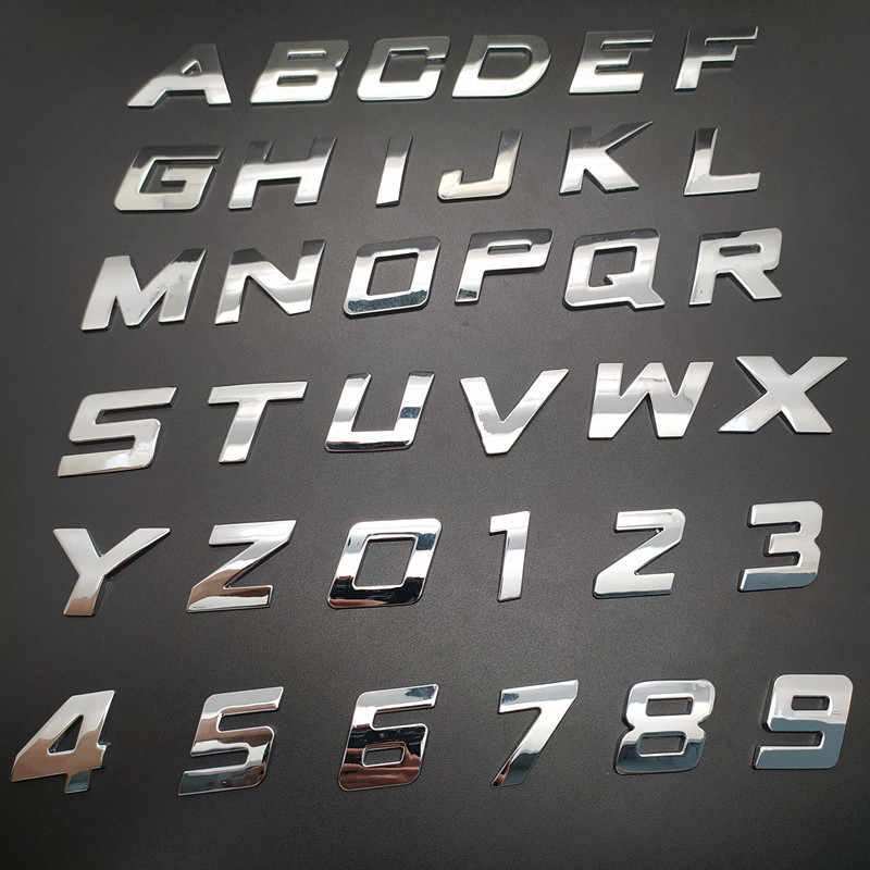 Etiqueta engomada del coche de DIY carta Digital alfabeto emblema de la divisa de la motocicleta Auto número de etiqueta para BMW, Audi, Ford Volkswagen estilo de coche