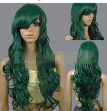 suyushun3440234++>Inches Long Celadon Holiday Cosplay Wigs Ladies' Dark Green Curly Wigs 80 cm(China)