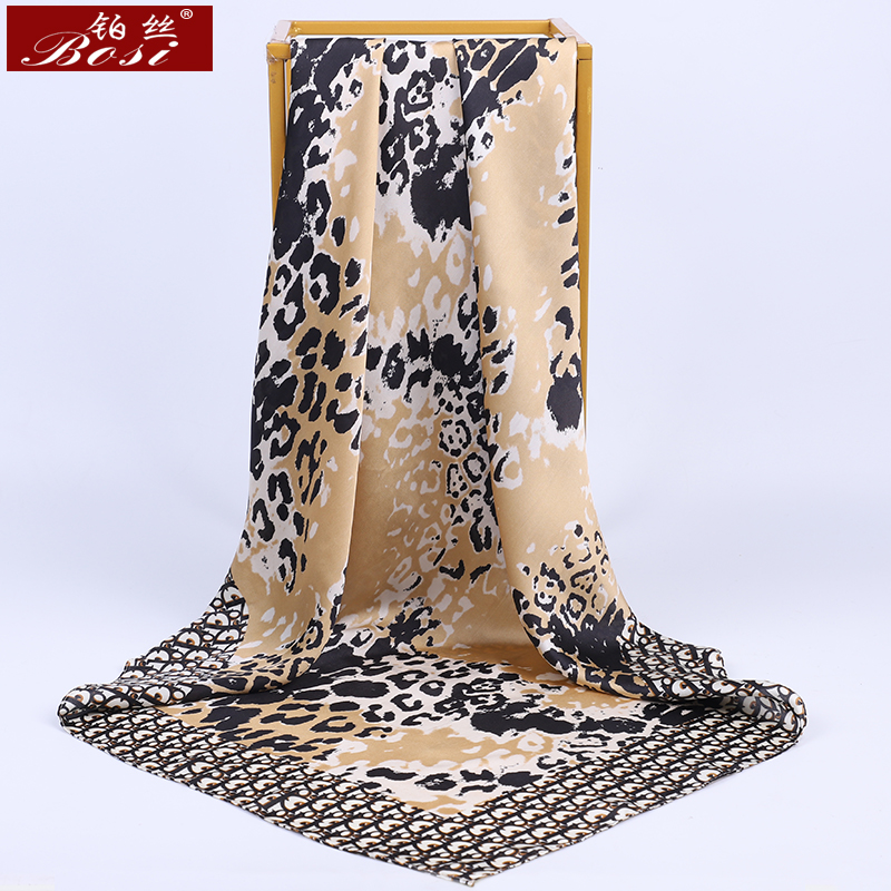 BOSI Leopard Silk Satin Hijab Hair Scarf For Women Scarves Luxury Brand Fashion 90*90cm Square Shawl Letter Print Elegant Poncho