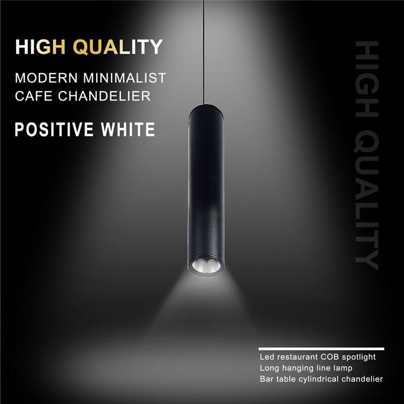 New Black High Quality Modern Minimalist Cafe Chandeliers Positive White Led Restaurant COB Spotlights Long Tube Hanging Lamp Ba