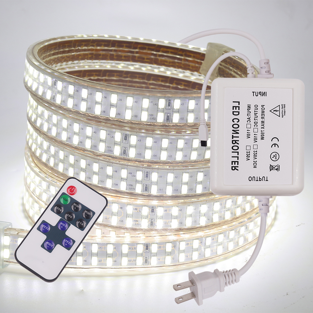 Super lumineux 5730 Flexible LED bande lumière 220V Double rangée 240 LED/m Dimmable étanche éclairage à la maison décoration corde lumières