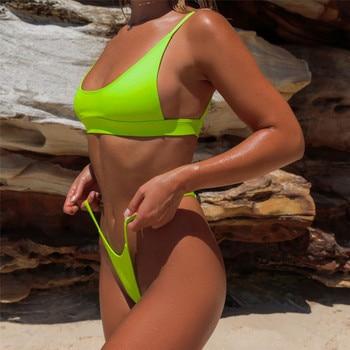 Sexy Neon Green Bikini SwimSuit Set Spaghetti 1