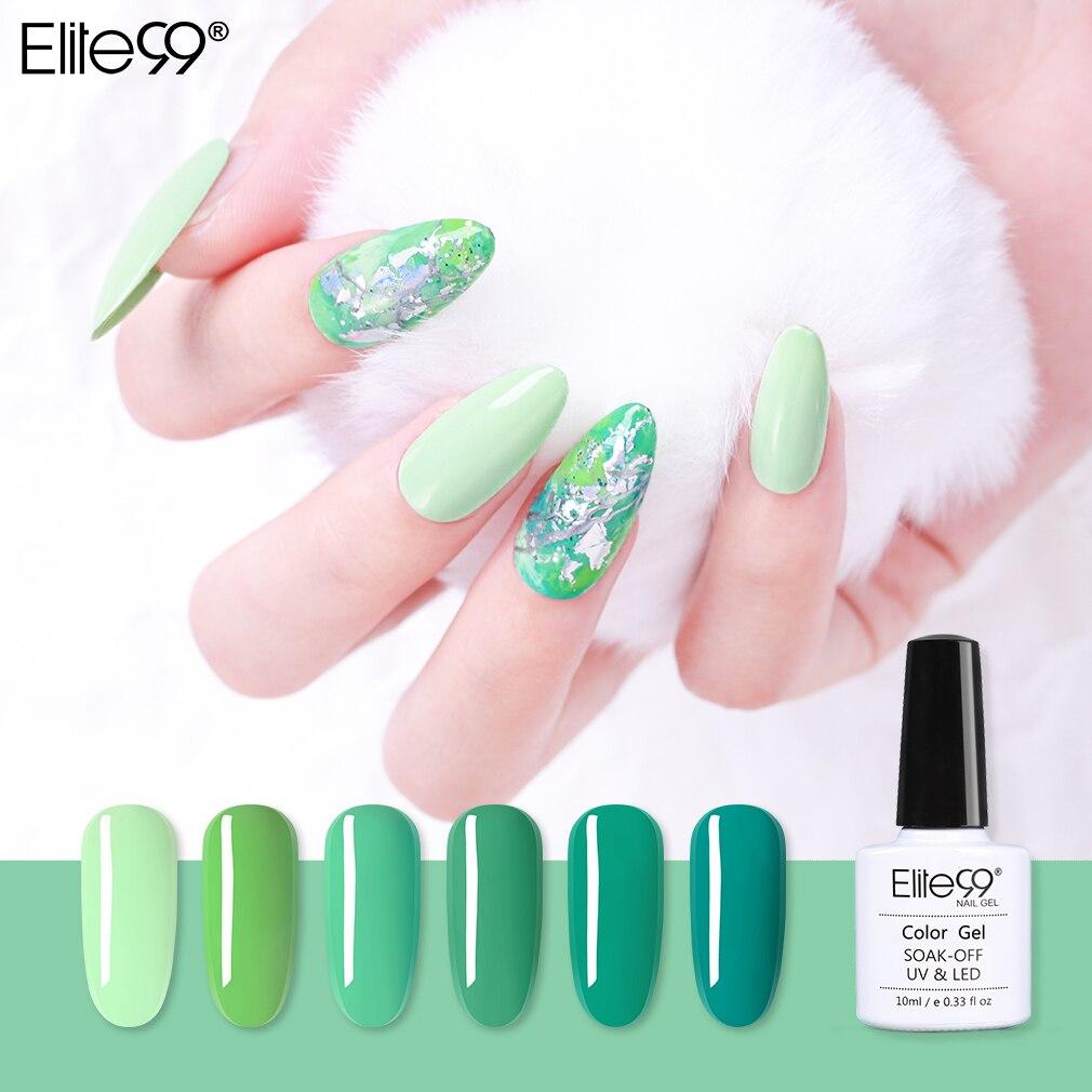 Elite99 10ml Turquoise UV Gel vernis à ongles pur imbiber vernis à ongles Art Gel couche de Base supérieure nécessaire couleur verte vernis à ongles Gel
