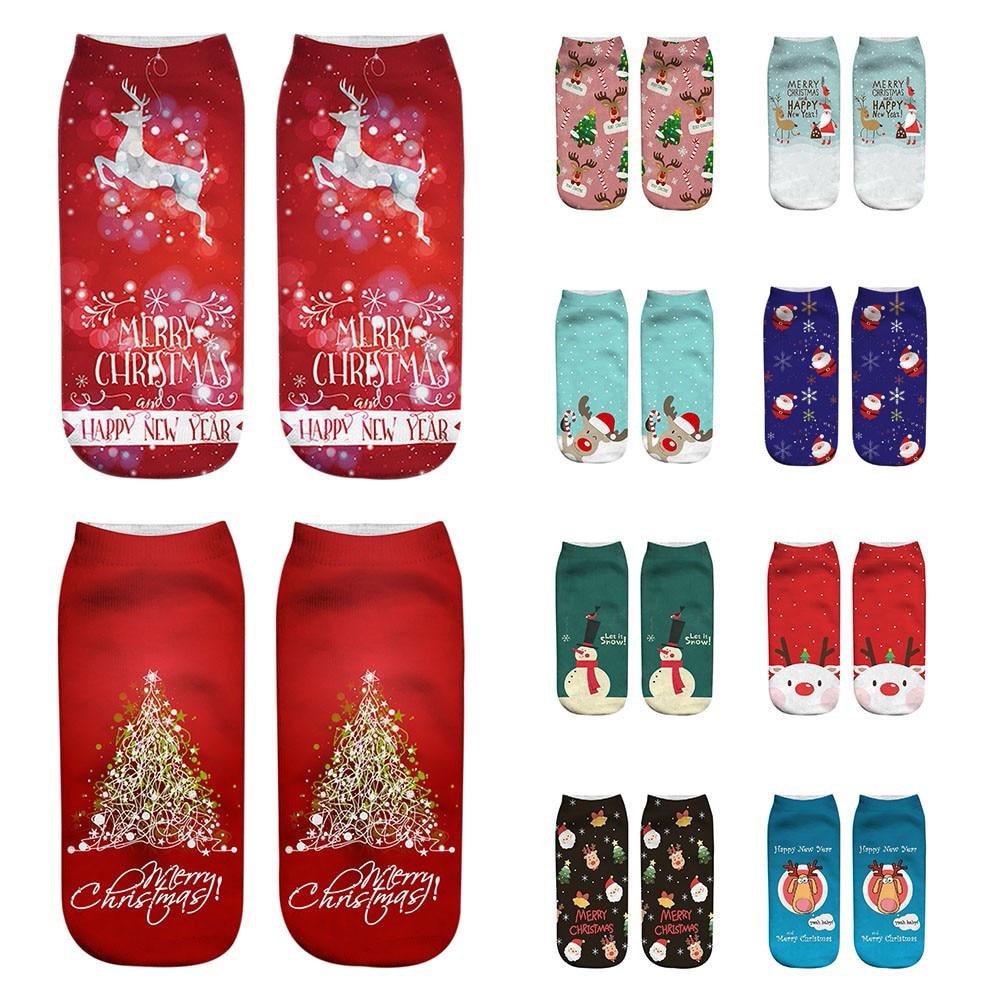 Unisex Christmas Day Funny 3D Fashion Printed Casual Socks Wemen Men Cute Low Cut Ankle Socks Female Male Socks 2019
