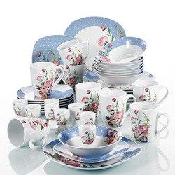 Juego de cena con diseño de flor de porcelana de 40 piezas, juego de combinación de desayuno con taza de huevo, Bol para postre, plato de cena