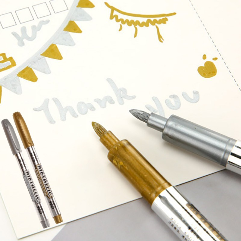 New 1Pcs DIY Metal Waterproof Permanent Paint Marker Pens Sharpie Gold And Silver 1.5mm Student Supplies Colorful Waterproof Pen