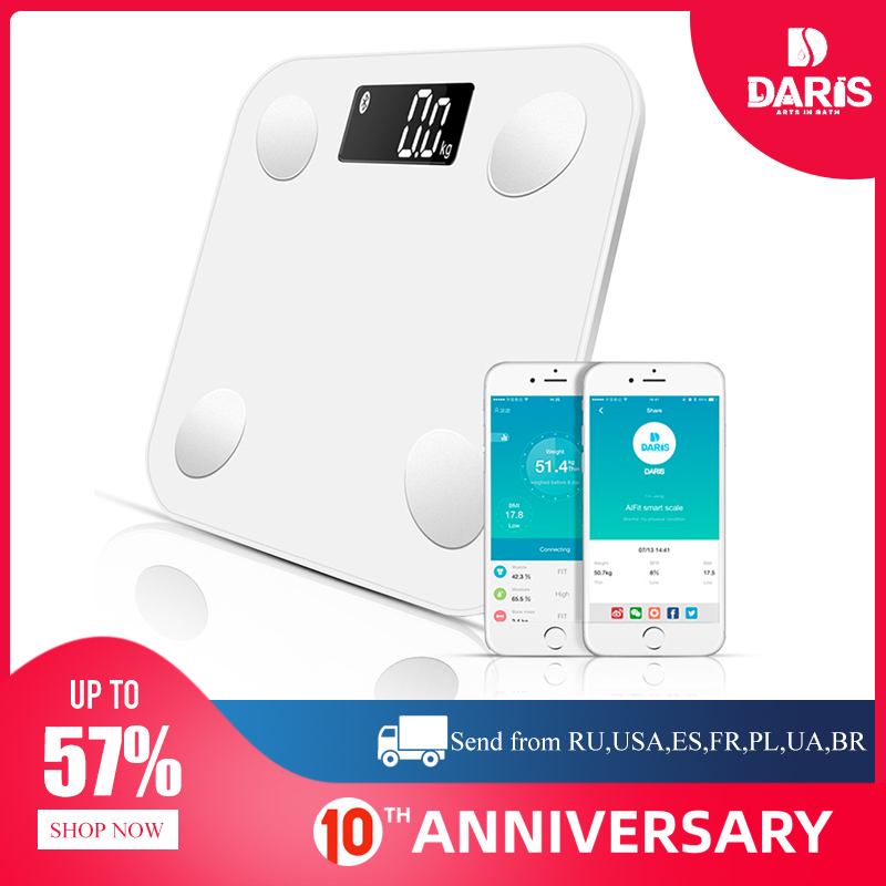 SDARISB Bluetooth-Scales Mass-Bmi Scale-Body Weight Water-Muscle Body-Fat Smart Backlit title=