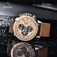 Saatler erkekler için BENYAR erkek saatler lüks marka Quartz saat erkekler çok fonksiyonlu askeri kronograf saat Relogio Masculino