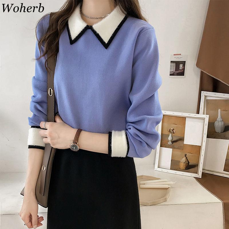 Woherb Elegant Temperament Women Sweater Turn Down Collar Patchwork Pullover Female Korean New Fashion Ladies Tops Jumpers 90725